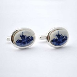 CUFFLINKS DELFT BLUE CIRCLE STONE MILL SMOOTH EDGE