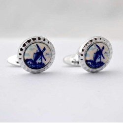 CUFFLINKS DELFT BLUE STONE ROUND MILL EDGE WORKED