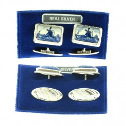 CUFFLINKS SILVER DELFT BLUE STONE RECTANGLE