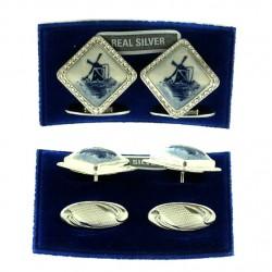 CUFFLINK SILVER DELFT BLUE STONE LOZENGE 1.5 CM
