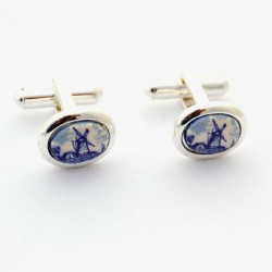 SILVER PLATED CUFFLINKS SMALL DELFT BLUE STONE WINDMILL