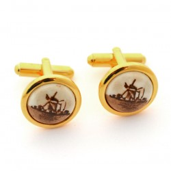 GOLD PLATED CUFFLINKS SMALL DELFT POLYCHROME STONE WINDMILL
