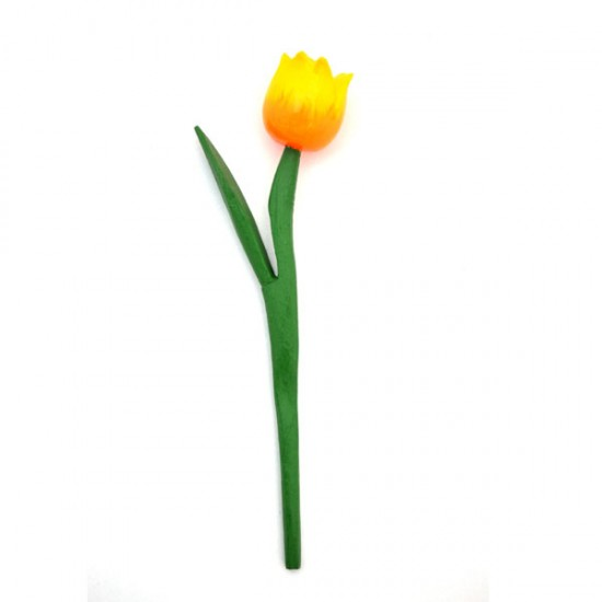 MINI WOODEN TULIP SHINY YELLOW ORANGE 18 CM