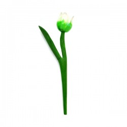 MINI WOODEN TULIP SHINY WHITE GREEN 18 CM