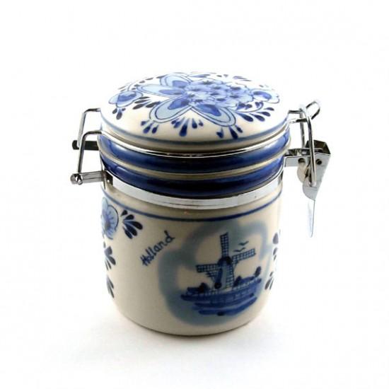 Mini syrup waffer pot vooraadpot delft blue flower mill