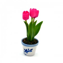 MINIATURE POT DELFT BLUE FLEXI TULIPS PINK