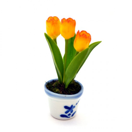 MINIATURE POT DELFT BLUE FLEXI TULPJES YELLOW ORANGE