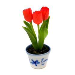 MINIATURE POT DELFT BLUE FLEXI TULPJES ORANGE