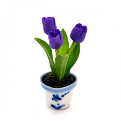 MINIATURE POT DELFT BLUE FLEXI TULPJES PURPLE