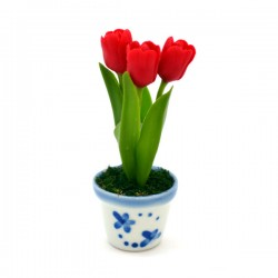 MINIATURE POT DELFT BLUE FLEXI TULPJES RED