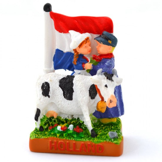 MINIATURE DUTCH COUPLE COW TULIPS FLAG