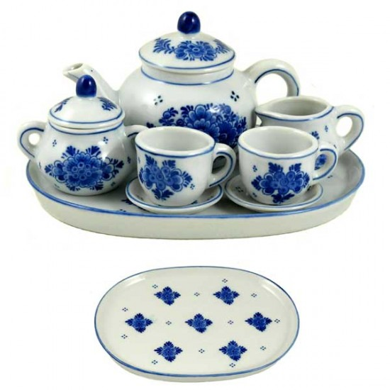 Miniature tableware tea set delft blue flower