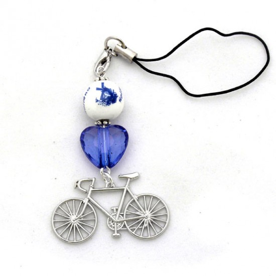 Cell phone chain delft blue bead bicycle