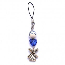 CELL PHONE KEYCHAIN DELFT BLUE BEAD HEART WINDMILL