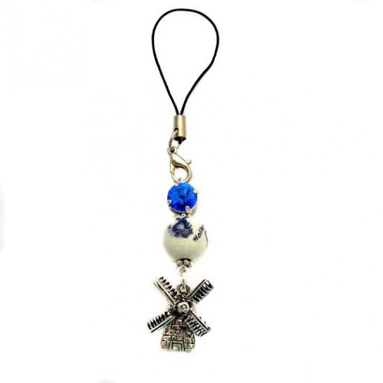 Mobiltelefonanhänger delfter blau perl swarovsky stein mühle