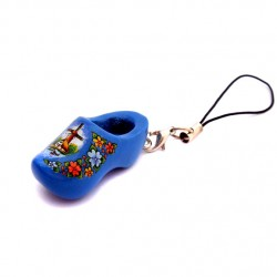 CELL PHONE KEYCHAIN WOODEN CLOGGY BLUE MILL