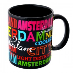 MUG AMSTERDAM BLACK COLORED TEXTS