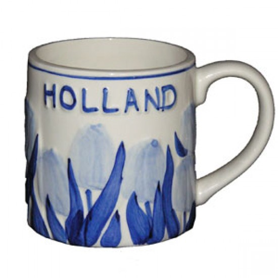 MUG CUP RELIEF TULIPS DELFT BLUE