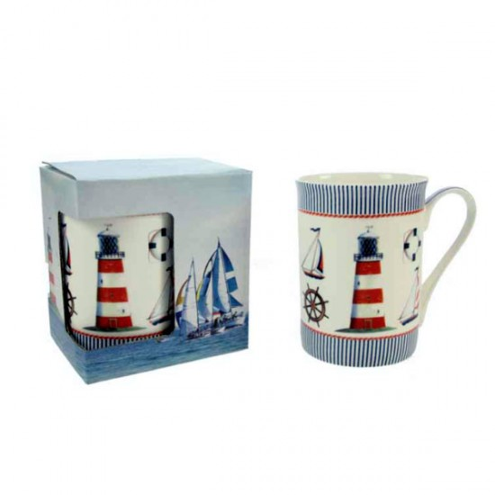 FINE BONE CHINA MUG LIGHT HOUSE MARINE