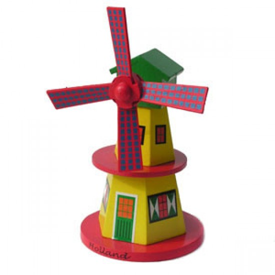 Windmill wood yellow 15 cm