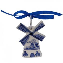 CHRISTMAS DECORATION WINDMILL FLAT DELFT BLUE 7 CM