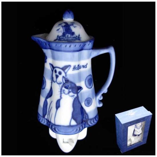 Delft blue night / wall light tea pot