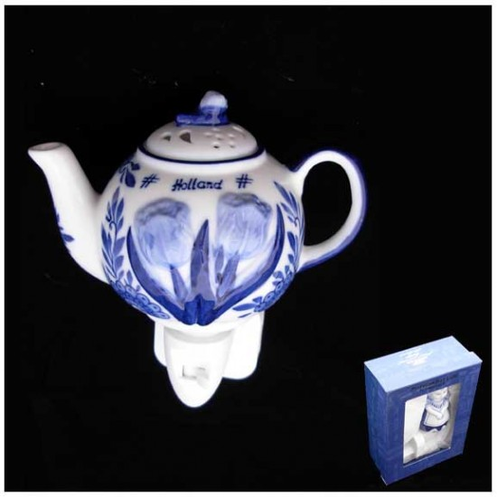 Delft blue night / wall light teapot tulip