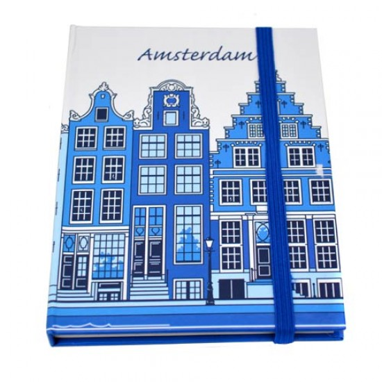 NOTE BOOK AMSTERDAM CANAL HOUSE BLUE