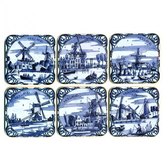 COASTERS CORK SET 6 PCS DELFt BLUE TILE ASSORTI