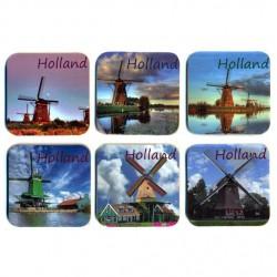 COASTERS CORK SET 6 PCS HOLLAND WINDMILLS PICTURE ASSORTI