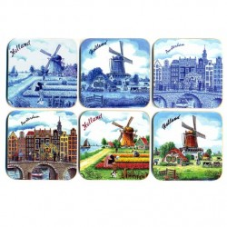 COASTERS CORK SET 6 PCS HOLLAND DRAWING ASSORTI