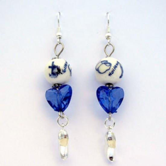 EARRINGS DELFT BLUE BEADS HEART CLOGGIES 4.5 CM