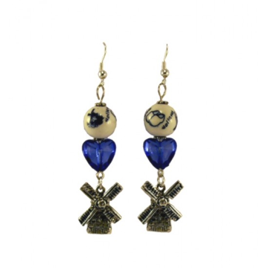 EARRINGS DELFT BLUE BEAD  HEART MILL 5 CM