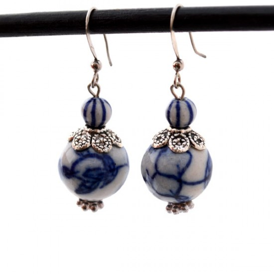 DELFT BLUE EARRINGS PENDANT CLASSIC BEADS