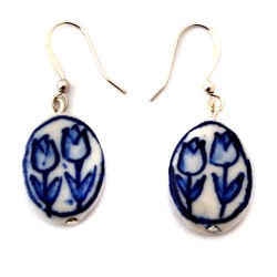 DELFT BLUE EARRINGS PENDANT TULIP FLAT