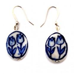 DELFT BLUE EARRINGS PENDANT TULIP FLAT