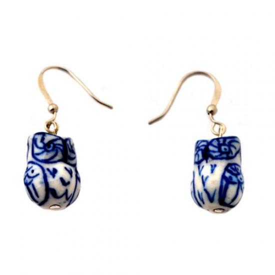 Delft blue earrings pendant owl