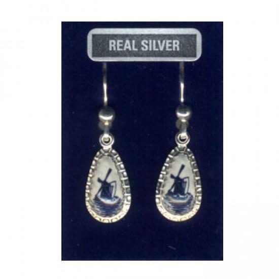 Silver earrings pendants droplet delft blue windmill 17 mm