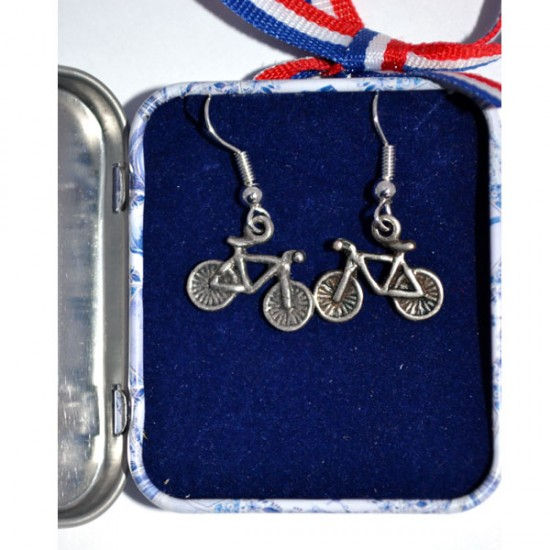 EARRINGS PINS BICYCLE IN DELFT BLUE TIN