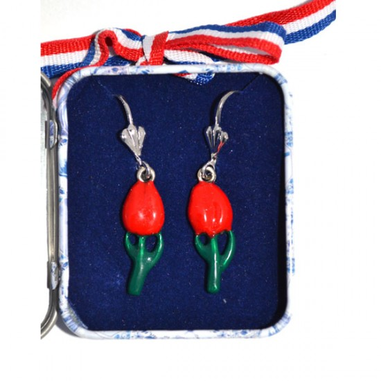 EARRINGS PINS RED TULIP IN DELFT BLUE TIN