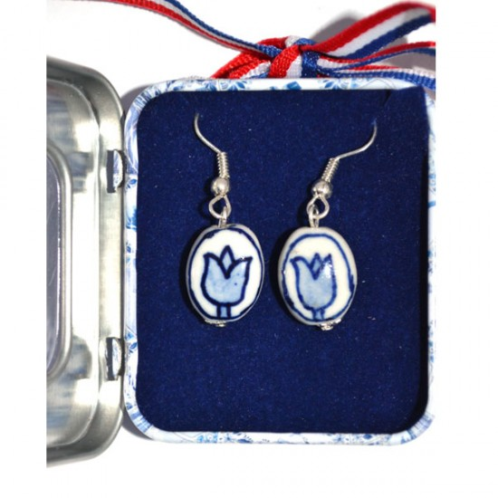 EARRINGS PINS DELFT BLUE TULIP IN SOUVENIR TIN