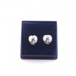 EARRINGS PINS SILVER PLATED DELFT BLUE HEART 8 MM