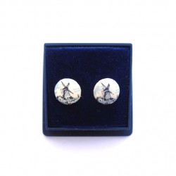 EARRINGS PINS SILVER PLATED DELFT BLUE STONE 10 MM