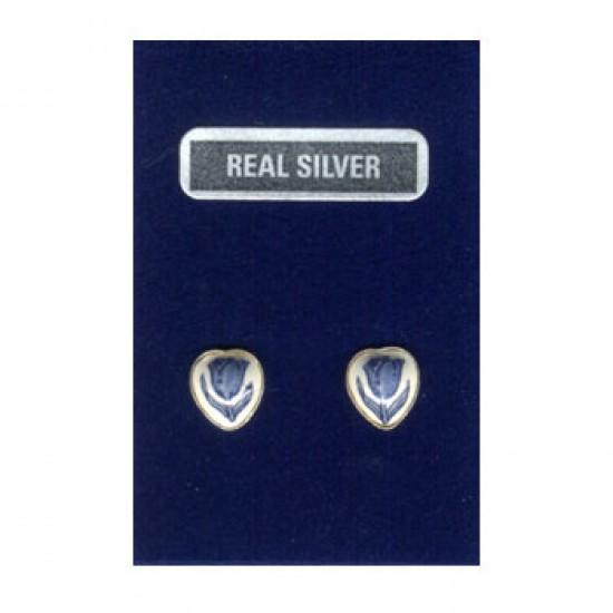SILVER EARRINGS PINS HEART DELFT BLUE TULIP 8 MM