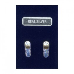 SILVER EARRINGS PINS CLOGGY BLUE MILL 14 MM