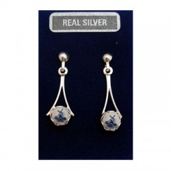 SILVER EARRINGS PINS DELFT BLUE WINDMILL HANG SPHERE 14 MM