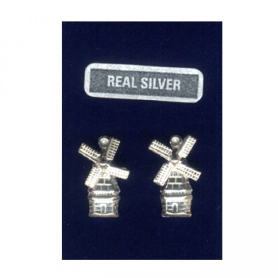 SILVER EARRINGS PINS WINDMILL ROTATING WINGS