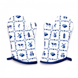 SET OF 2 OVEN GLOVES DELFT BLUE SMALL TILES