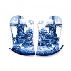 OVEN GLOVES DELFT BLUE WINDMILL