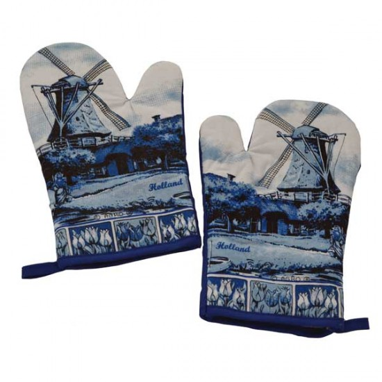 SET OF 2 OVEN GLOVES DELFT BLUE WINDMILL